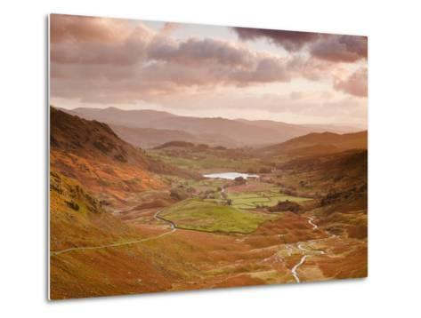 Looking Down Wrynose Pass to Little Langdale in Lake District National Park, Cumbria, England-Julian Elliott-Metal Print