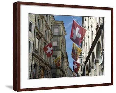 Street Scenes in Geneva Old Town, Geneva, Switzerland, Europe-Matthew Frost-Framed Art Print