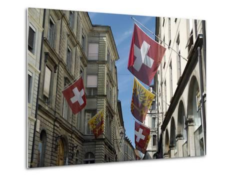 Street Scenes in Geneva Old Town, Geneva, Switzerland, Europe-Matthew Frost-Metal Print