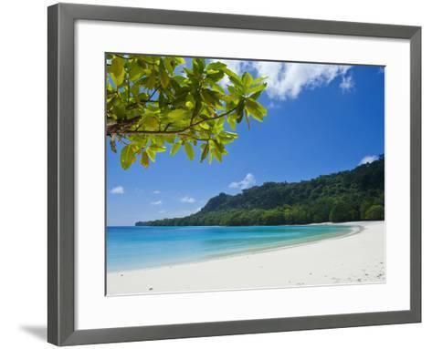 Turquoise Water and White Sand at Champagne Beach, Island of Espiritu Santo, Vanuatu, South Pacific-Michael Runkel-Framed Art Print