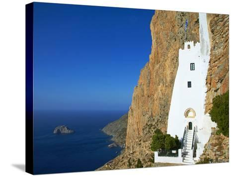Hozoviotissa Monastery and Aegean Sea, Amorgos, Cyclades, Greek Islands, Greece, Europe-Tuul-Stretched Canvas Print