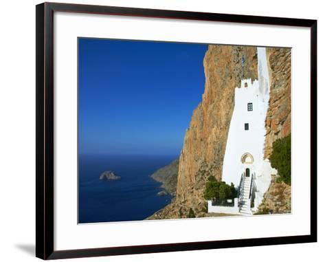Hozoviotissa Monastery and Aegean Sea, Amorgos, Cyclades, Greek Islands, Greece, Europe-Tuul-Framed Art Print