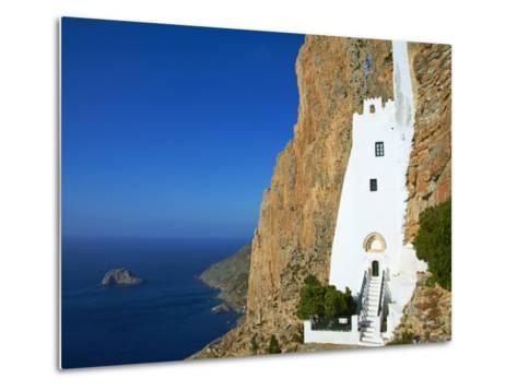 Hozoviotissa Monastery and Aegean Sea, Amorgos, Cyclades, Greek Islands, Greece, Europe-Tuul-Metal Print