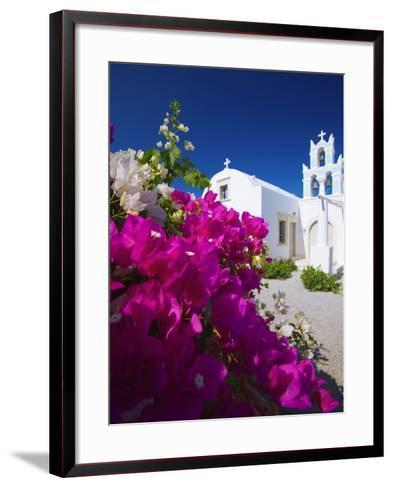 Greek Church and Flowers, Santorini, Cyclades, Greek Islands, Greece, Europe-Sakis Papadopoulos-Framed Art Print