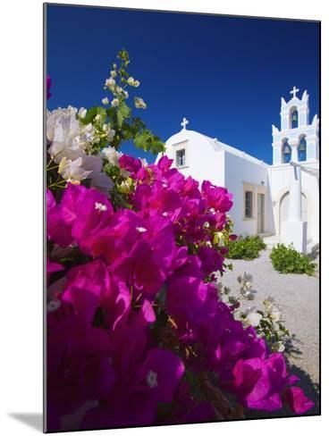 Greek Church and Flowers, Santorini, Cyclades, Greek Islands, Greece, Europe-Sakis Papadopoulos-Mounted Photographic Print