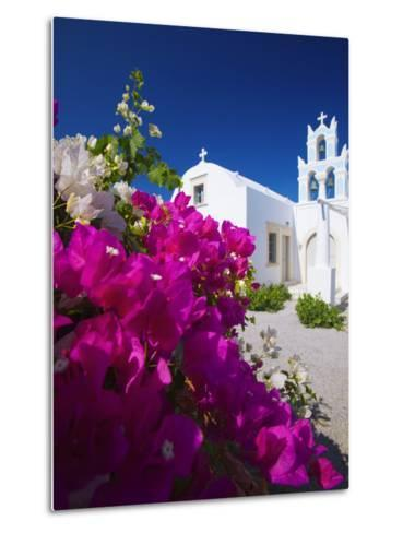 Greek Church and Flowers, Santorini, Cyclades, Greek Islands, Greece, Europe-Sakis Papadopoulos-Metal Print