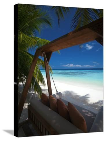 Swing on Tropical Beach, Maldives, Indian Ocean, Asia-Sakis Papadopoulos-Stretched Canvas Print