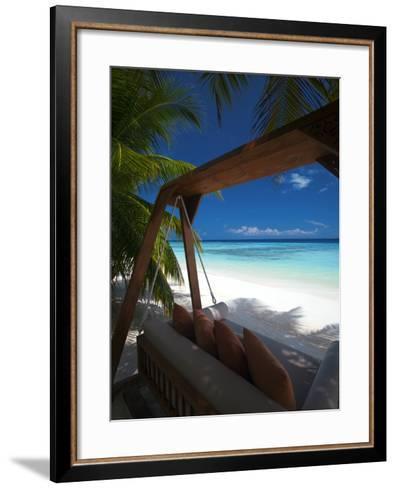 Swing on Tropical Beach, Maldives, Indian Ocean, Asia-Sakis Papadopoulos-Framed Art Print