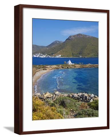 Beach and Church, Agios Panteleimon, Amorgos, Cyclades, Aegean, Greek Islands, Greece, Europe-Tuul-Framed Art Print
