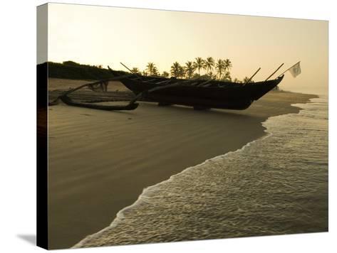 Sunrise over Traditional Fishing Boat and Beach, Benaulim, Goa, India, Asia-Stuart Black-Stretched Canvas Print