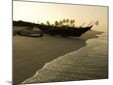 Sunrise over Traditional Fishing Boat and Beach, Benaulim, Goa, India, Asia-Stuart Black-Mounted Photographic Print