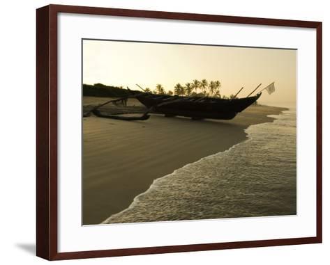 Sunrise over Traditional Fishing Boat and Beach, Benaulim, Goa, India, Asia-Stuart Black-Framed Art Print