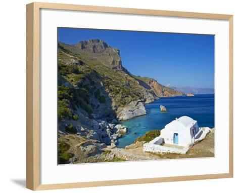 Beach and Church, Agia Anna, Amorgos, Cyclades, Aegean, Greek Islands, Greece, Europe-Tuul-Framed Art Print