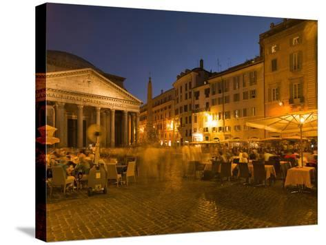 People Dining at Outside Restaurant Near the Pantheon, Rome, Lazio, Italy, Europe-Angelo Cavalli-Stretched Canvas Print