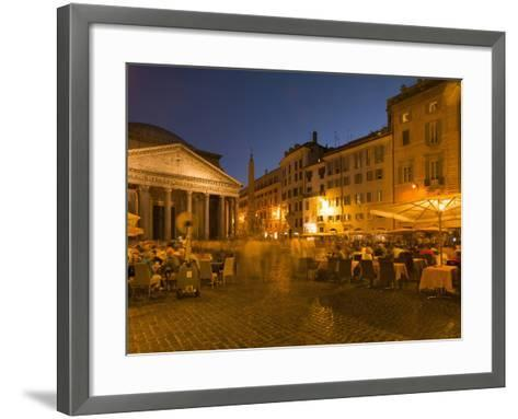 People Dining at Outside Restaurant Near the Pantheon, Rome, Lazio, Italy, Europe-Angelo Cavalli-Framed Art Print