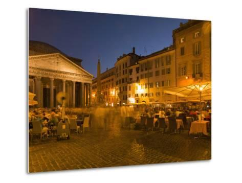 People Dining at Outside Restaurant Near the Pantheon, Rome, Lazio, Italy, Europe-Angelo Cavalli-Metal Print