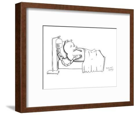 A pig is hooked up to an IV shaped like sausages, as he lies in a hospital? - New Yorker Cartoon-Trevor Hoey-Framed Art Print