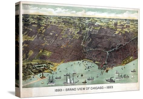 1893, Chicago Bird's Eye View, Illinois, United States--Stretched Canvas Print