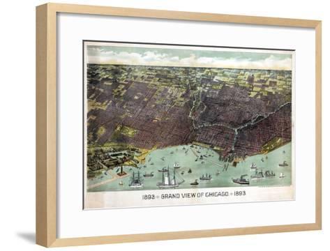 1893, Chicago Bird's Eye View, Illinois, United States--Framed Art Print