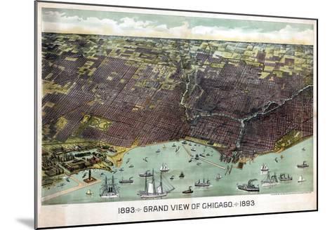 1893, Chicago Bird's Eye View, Illinois, United States--Mounted Giclee Print