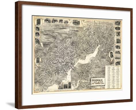 1899, Norwalk, Bird's Eye View, Connecticut, United States--Framed Art Print