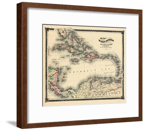 1876, County Map of Florida, West Indies, Caribbean, Mexico, Cuba, South America, United--Framed Art Print