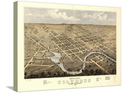 1868, Columbus Bird's Eye View, Wisconsin, United States--Stretched Canvas Print