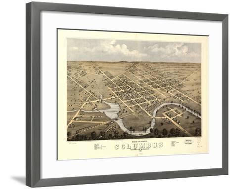 1868, Columbus Bird's Eye View, Wisconsin, United States--Framed Art Print