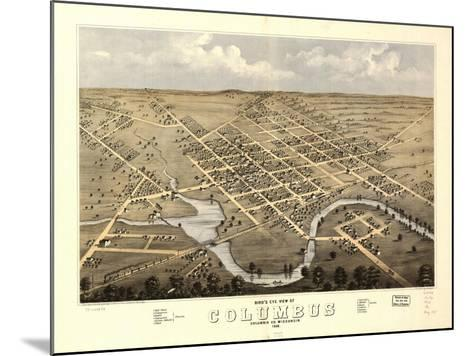1868, Columbus Bird's Eye View, Wisconsin, United States--Mounted Giclee Print