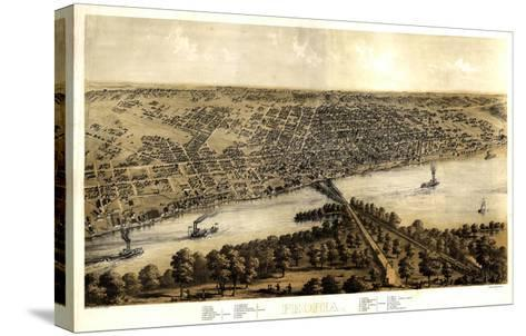 1867, Peoria Bird's Eye View, Illinois, United States--Stretched Canvas Print