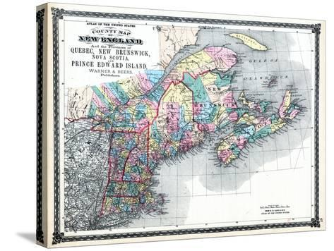 1875, New England and the Provinces of Quebec, New Brunswick, Nova Scotia, and Prince Edward Island--Stretched Canvas Print