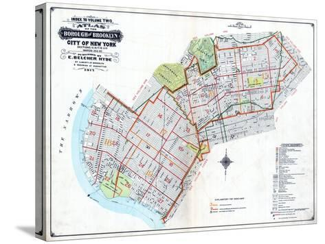 Brooklyn Map--Stretched Canvas Print