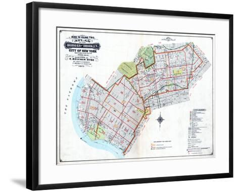 Brooklyn Map--Framed Art Print
