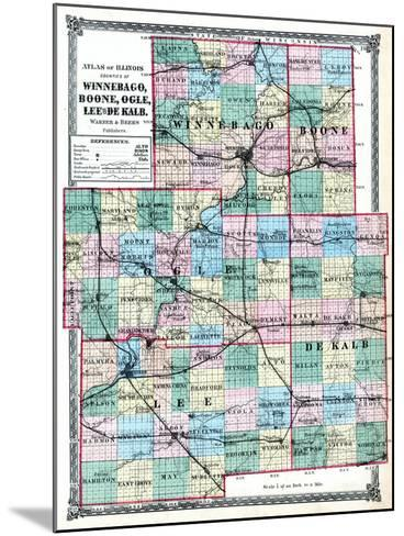 1875, Winnebago, Boone, Ogle, Lee and De Kalb Counties Map, Illinois, United States--Mounted Giclee Print