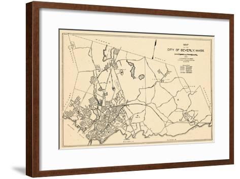 1932, Beverly City Map, Massachusetts, United States--Framed Art Print