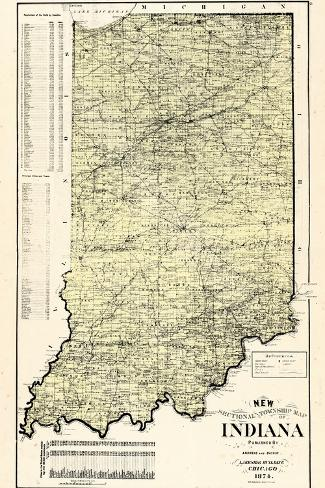 1874, State Map, Indiana, United States--Stretched Canvas Print