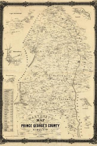 1861, Prince George's County Wall Map, Maryland, United States--Stretched Canvas Print