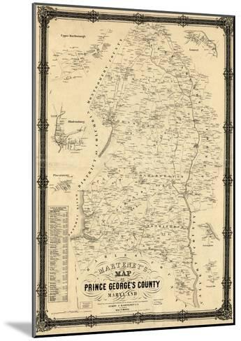 1861, Prince George's County Wall Map, Maryland, United States--Mounted Giclee Print