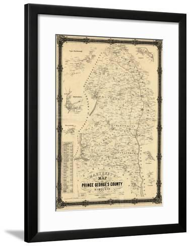 1861, Prince George's County Wall Map, Maryland, United States--Framed Art Print