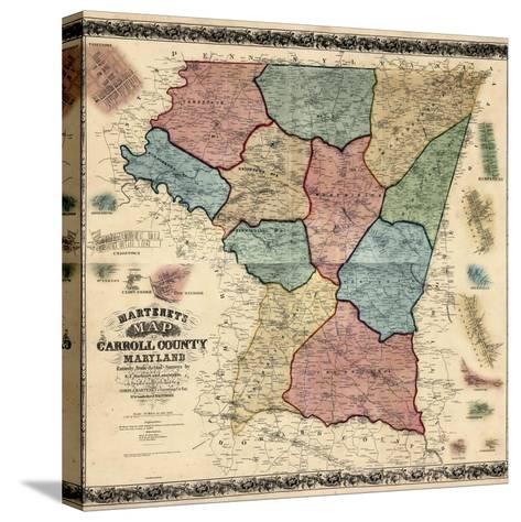 1862, Carroll County Wall Map, Maryland, United States--Stretched Canvas Print