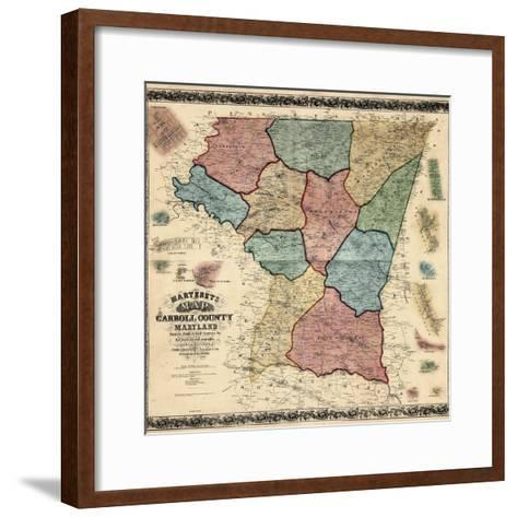 1862, Carroll County Wall Map, Maryland, United States--Framed Art Print