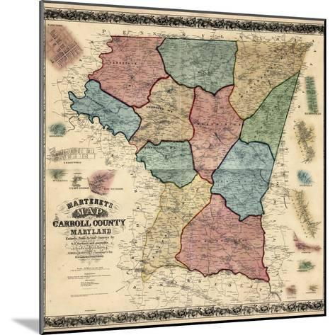 1862, Carroll County Wall Map, Maryland, United States--Mounted Giclee Print