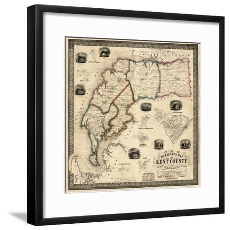 1860, Kent County Wall Map, Maryland, United States--Framed Art Print