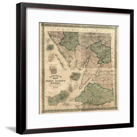 1858, Cecil County Wall Map, Maryland, United States--Framed Art Print