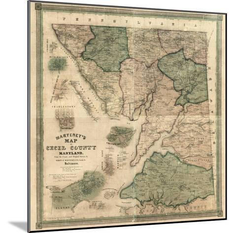 1858, Cecil County Wall Map, Maryland, United States--Mounted Giclee Print