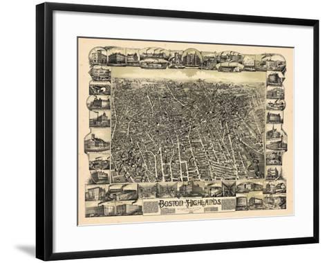 1888, Boston Bird's Eye View of the Highlands, Massachusetts, United States--Framed Art Print