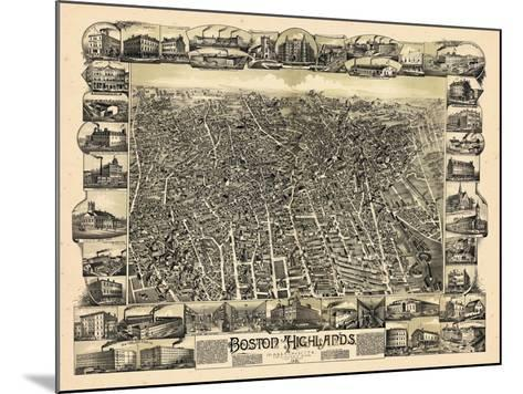 1888, Boston Bird's Eye View of the Highlands, Massachusetts, United States--Mounted Giclee Print