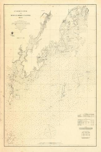 1864, St Georges River and Muscle Ridge Channel Chart Maine, Maine, United States--Stretched Canvas Print