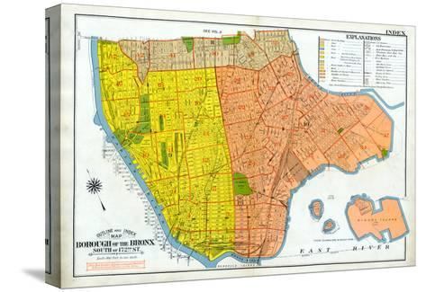 Bronx Index Map--Stretched Canvas Print