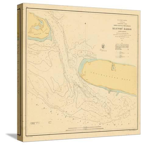 1857, Beaufort Harbor Chart North Carolina, North Carolina, United States--Stretched Canvas Print